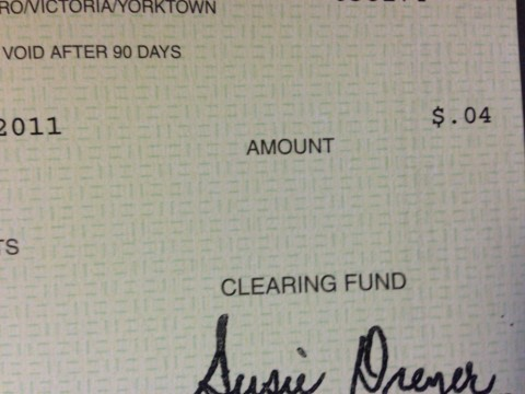 Yes, folks, that is a check for 4 cents.